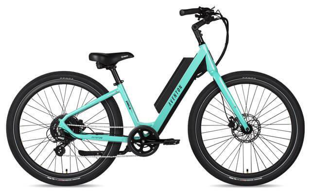 a blue/green electric bike by aventon