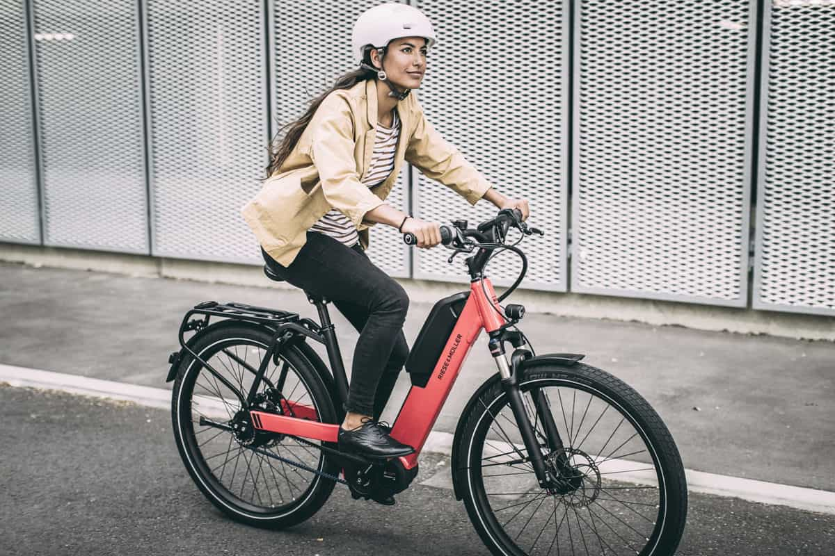 woman on an ebike
