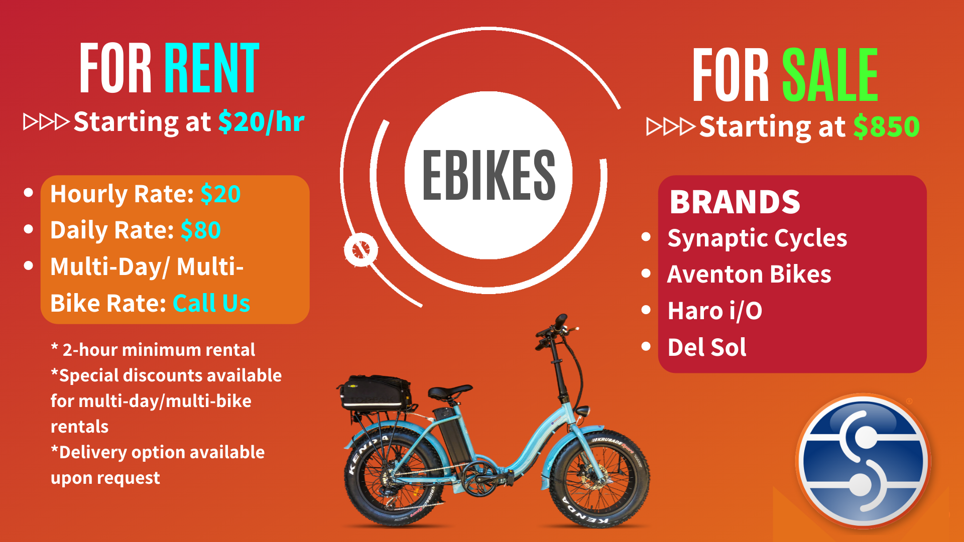 ebikes for rent and sale synaptic cycles
