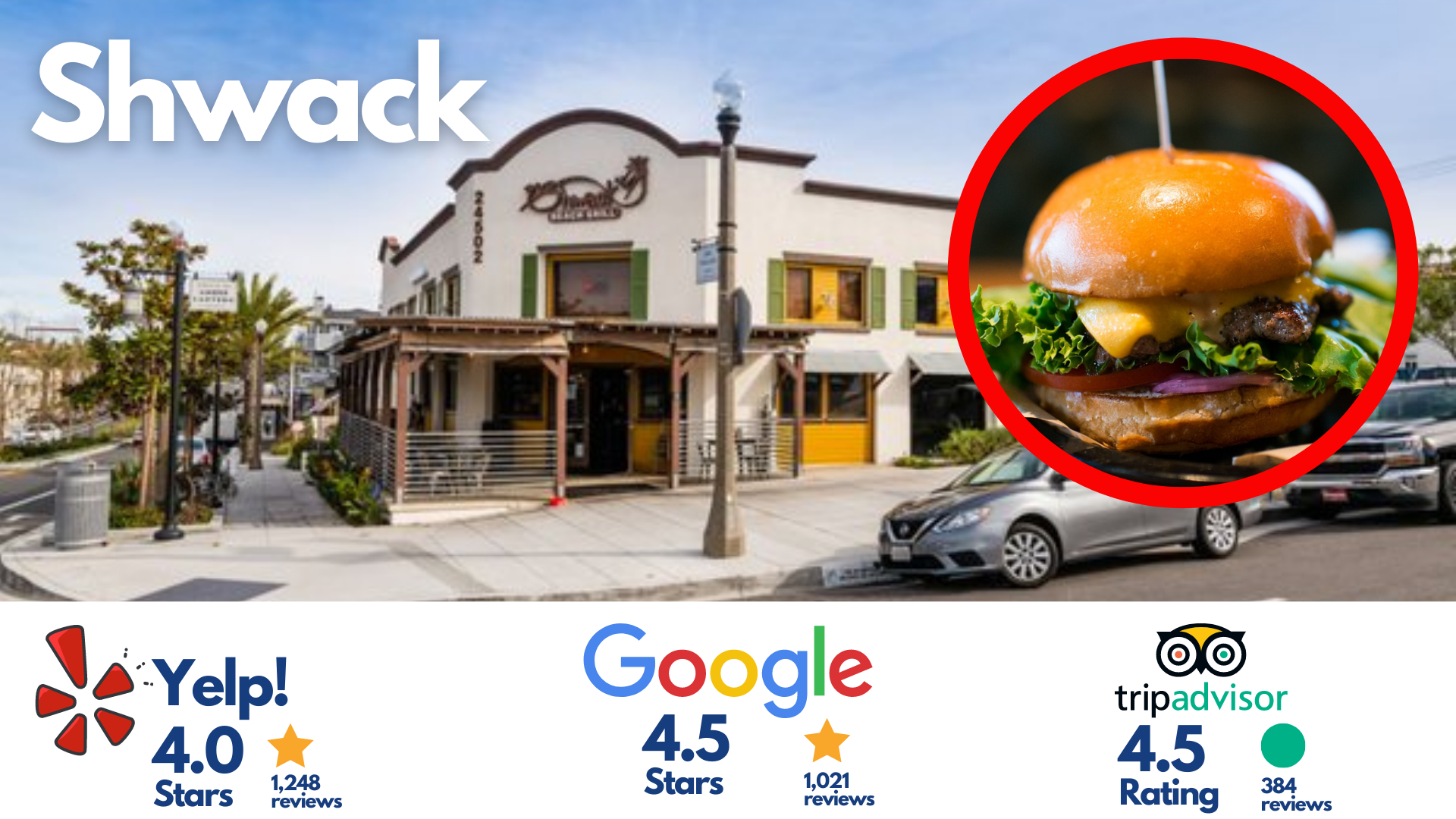 the shwack beach grill dana point california (image of the exterior of the shwack restaurant, picture of a burger, yelp google and tripadvisor ratings in the bottom portion