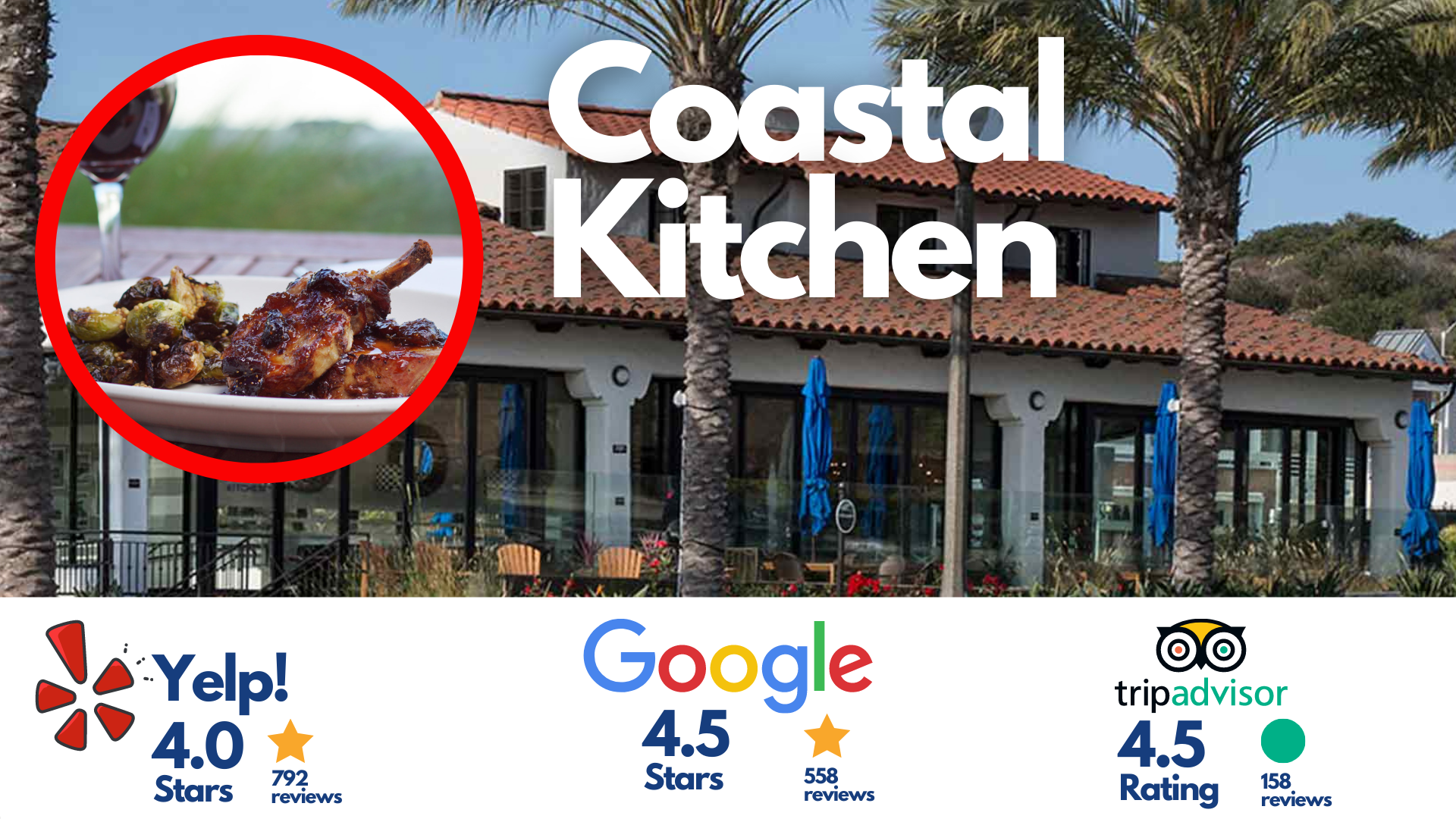 Coastal Kitchen, Dana Point, California (picture of the restaurant's exterior as well as another circular picture of the food and wine at coastal kitchen plus the restaurant's yelp, google and tripadvisor ratings