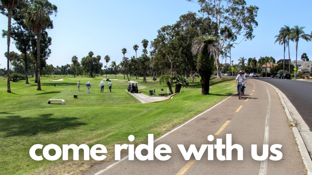 text shows come ride with us with a bike path running next to a park and a man riding his bike on the path