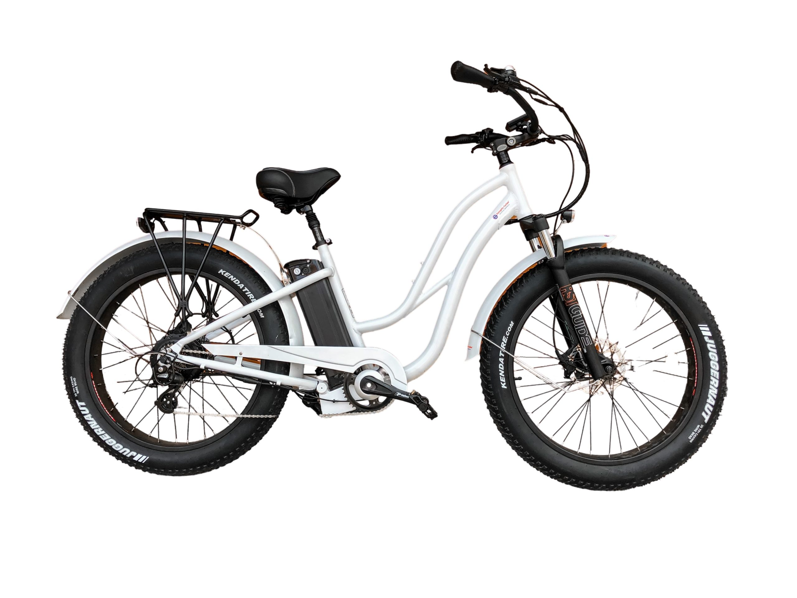 White Beach Cruiser Electric Bike 750W